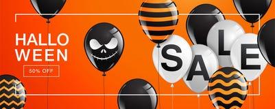 Halloween-Banner, Spook, Eng, griezelig, luchtballons, malplaatje Stock Fotografie