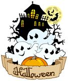 Halloween banner with three ghosts Royalty Free Stock Image