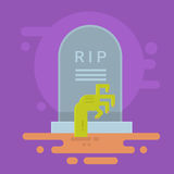Halloween Banner Tomb Stone Zombie Hand From Ground Royalty Free Stock Images