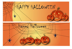 Halloween banner. Two Halloween banners  with cobwebs and lanterns Royalty Free Stock Photography