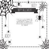 Halloween Banner with web and spiders. And place for text.  Halloween background hand drawn Stock Photos