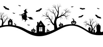 Halloween banner with witch. Vector illustrations of Halloween banner with witch stock illustration