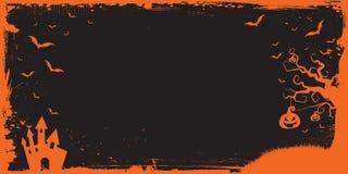 Halloween-bannermalplaatje met pompoen, eng huis, vliegende knuppel stock illustratie