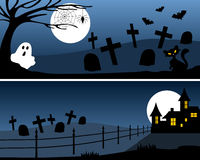 Halloween Banners [1]. Two Halloween banners with haunted house, ghost and bats. Eps file available Stock Photo