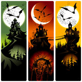 Halloween banners. Halloween banners with moon and castles Stock Image
