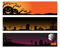 Halloween banners. Set of three banners for Halloween with pumpkins,cemetery,bats.Isolated on white background.EPS file available Stock Photos