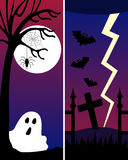 Halloween Banners [2]. Two Halloween banners with a ghost, bats and a lightning. Eps file available Royalty Free Stock Photo