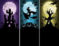 Halloween banners. Castle, witch and old tree on the dark background Stock Photo