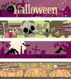 Halloween banners. Four horizontal Halloween banners with spider, skull, bats and candies Stock Image