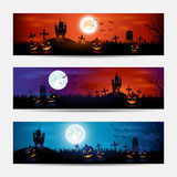 Halloween banners with castle Royalty Free Stock Photo