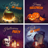 Halloween Banners with the characters on the background. Night autumn landscape. Сolorful Happy Halloween banners for design projects Royalty Free Stock Images