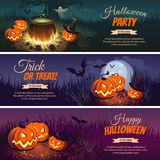 Halloween Banners with the characters on the background. Night autumn landscape Royalty Free Stock Image