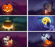 Halloween Banners with the characters on the background. Night autumn landscape. Сolorful Happy Halloween Banners for Design Projects Stock Photography