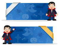 Halloween Banners with Count Dracula. Two blue Halloween banners with Count Dracula character smiling and greeting, Halloween elements and a ribbon. Eps file Stock Image