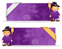 Halloween Banners with Cute Witch. Two violet Halloween banners with a cute cartoon witch character smiling and greeting, Halloween elements and a ribbon. Eps Stock Images