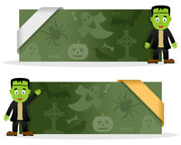Halloween Banners with Frankenstein Stock Images