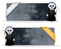 Halloween Banners with Grim Reaper. Two dark grey Halloween banners with Grim Reaper character smiling and greeting, Halloween elements and a ribbon. Eps file Stock Photos