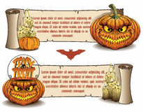 Halloween banners. Holiday Halloween Banners with Pumpkins Stock Photo