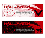 Halloween banners, poster or tickets with watercolors and drops of blood. Vector illustration Stock Images