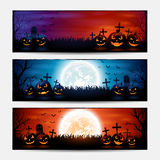 Halloween banners with pumpkins Royalty Free Stock Images