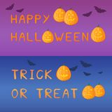 Halloween banners with pumpkins. Set of vector design elements Royalty Free Stock Photo