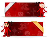 Halloween Banners with Red Devil. Two red Halloween banners with a cute cartoon Devil character smiling and greeting, Halloween elements and a ribbon. Eps file Royalty Free Stock Images