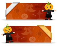 Halloween Banners with Scarecrow. Two orange Halloween banners with a pumpkin head scarecrow character smiling and greeting, Halloween elements and a ribbon. Eps Stock Photos