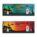 Halloween Banners with scary and interest design vector illustration