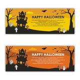 Halloween Banners with scary and interest design stock illustration