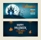 Halloween banners set on blue and darkblue background. Invitatio Royalty Free Stock Image