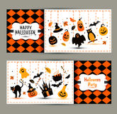 Halloween banners set on colors background. Invitation to night Royalty Free Stock Photo