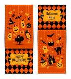 Halloween banners set on colors background. Invitation to night Stock Photo