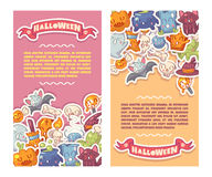 Halloween banners set with cute characters Royalty Free Stock Images