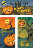 Halloween banners set with hand-written congratulation text vector illustration