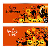 Halloween banners set on orange background. Invitation to night Stock Photos