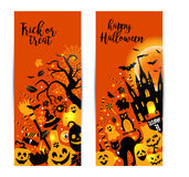 Halloween banners set on orange background. Invitation to night Royalty Free Stock Photo