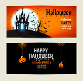 Halloween banners set on orange and black background. Stock Image