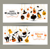 Halloween banners set on white background. Invitation to night p Royalty Free Stock Photos