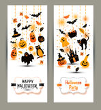 Halloween banners set on white background. Invitation to night p Royalty Free Stock Photography