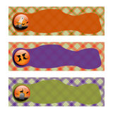 Halloween Banners sets. orange and green plaid background. Halloween Banners sets. orange green and purple plaid background,with witch shoe, grave and cemetery Royalty Free Stock Images
