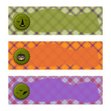 Halloween Banners sets. Purple green and orange plaid background,with witch hat, Jack o lantern  and bats. Raster illustration Stock Photography
