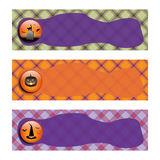 Halloween Banners sets. Purple and green plaid background. Halloween Banners sets. Purple green and orange plaid background,with witch hat, Jack o lantern  and Royalty Free Stock Photo