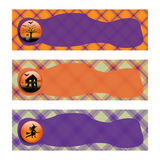 Halloween Banners sets. Purple and orange plaid background. Stock Photo