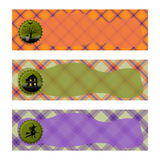 Halloween Banners sets. Purple and orange plaid background,with witch , haunted house and cemetery. Stock Image