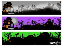 Halloween banners with silhouette of zombie and tomb. stock illustration