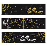 Halloween banners with spider webs Stock Photography