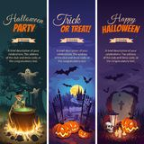 Halloween banners with text and characters - pumpkins, bats, ghosts and Skeletons on the night background. Images for your design projects Royalty Free Stock Photography