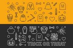 Halloween banners. Vector outline 31 oct Holiday illustration. Halloween banners. Vector outline concept horizontal 31 oct Holiday illustration vector illustration