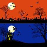 Halloween Banners Vector Set. Horizontal Halloween Banners Vector Set Stock Photos