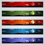 Halloween banners vector templates collection. Halloween colorful horizontal banners design vector templates collection stock illustration